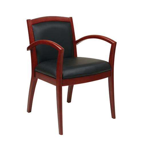 Napa Cherry Guest Chair With Full Cushion Back, Black Bonded Leather