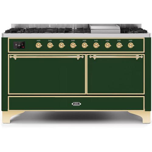 Majestic II 60 Inch Dual Fuel Liquid Propane Freestanding Range in Emerald Green with Brass Trim