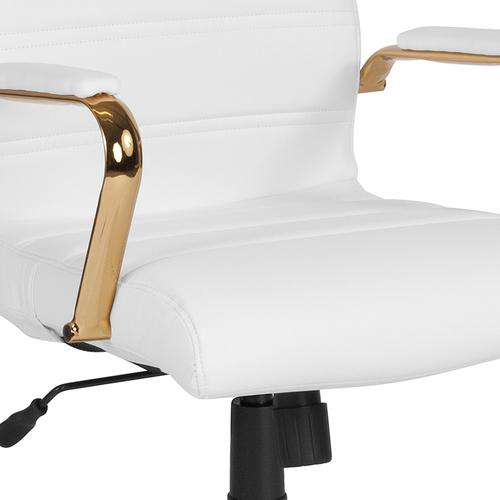 Gallery - High Back White LeatherSoft Executive Swivel Office Chair with Gold Frame and Arms