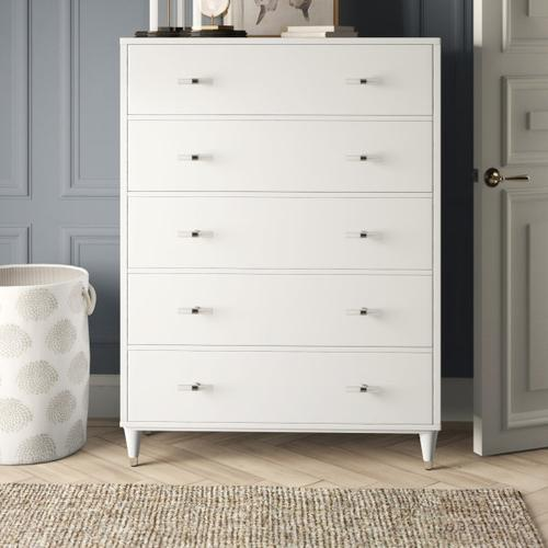 Accentrics Home - Modern Glam Five Drawer Chest in White - KD (Carton 2 of 2)