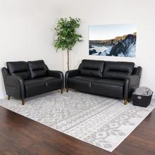 Newton Hill Upholstered Bustle Back Loveseat and Sofa Set in Black LeatherSoft