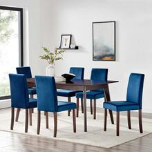 Prosper 7 Piece Upholstered Velvet Dining Set in Cappuccino Navy