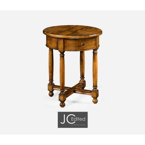 Country Walnut Parquet Round Side Table with Contrast Inlay