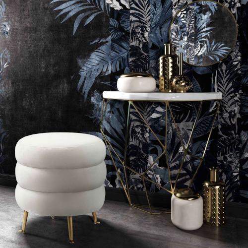 Tov Furniture - Ladder Cream Velvet Ottoman