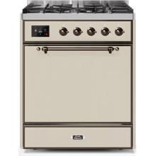Majestic II 30 Inch Dual Fuel Natural Gas Freestanding Range in Antique White with Bronze Trim