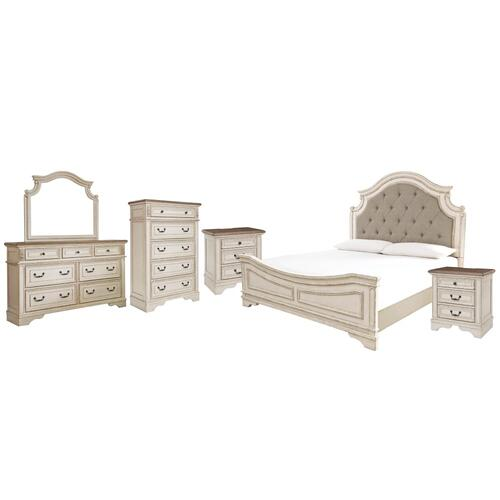 King Upholstered Panel Bed With Mirrored Dresser, Chest and 2 Nightstands