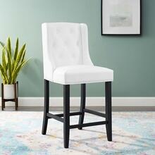 Baronet Tufted Button Faux Leather Counter Stool in White