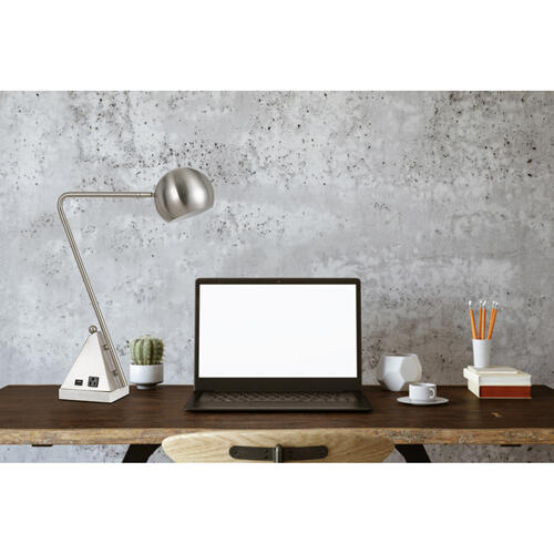 60W Delta Metal Desk Lamp With Marble Base, 1 Electrical Outlet And 1 USB Outlets
