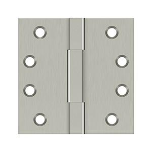 """4""""x 4"""" Square Knuckle Hinges, Solid Brass - Brushed Nickel"""