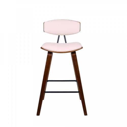 "Fox 25.5"" Mid-Century Counter Height Barstool in Cream Faux Leather with Walnut Wood"