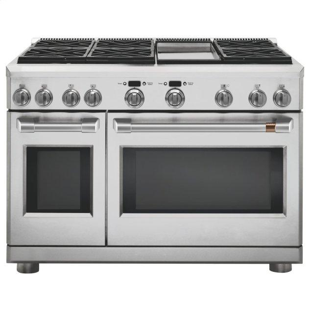 """Cafe Appliances 48"""" Dual-Fuel Professional Range with 6 Burners and Griddle (Natural Gas)"""