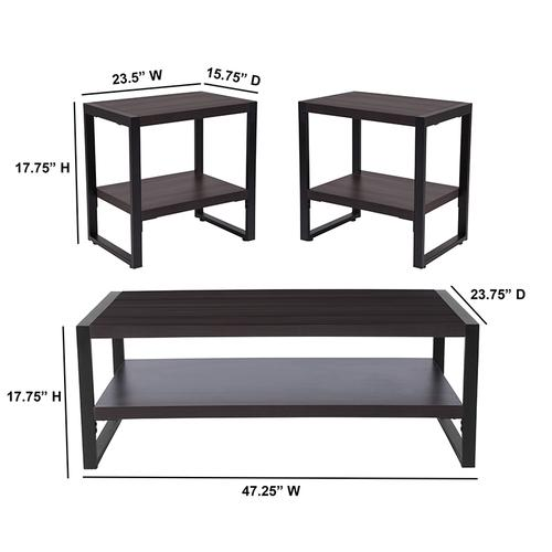 Flash Furniture - Thompson Collection 3 Piece Coffee and End Table Set with Raised Shelves in Charcoal Wood Grain Finish