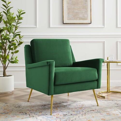 Modway - Chesapeake Performance Velvet Armchair in Gold Emerald