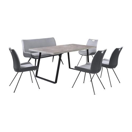Coronado 6 Piece Pewter Rectangular Dining Set