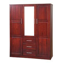 7112 - 100% Solid Wood Cosmo Wardrobe with Mirrored Door, Mahogany