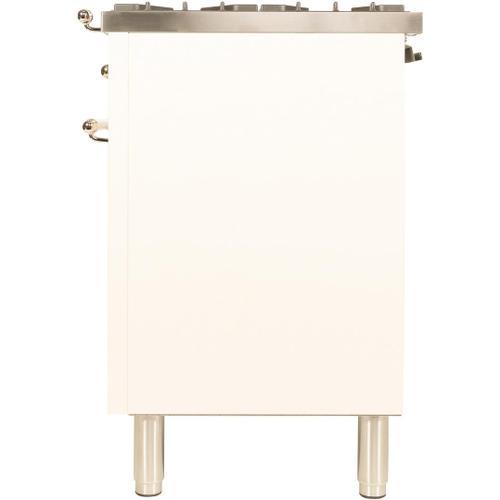 Nostalgie 36 Inch Dual Fuel Natural Gas Freestanding Range in Antique White with Brass Trim