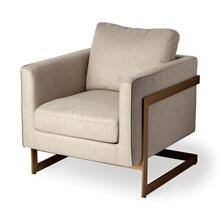 Rupert Cream Poly-Linen Seat w/ Gold Stainless Steel Frame Accent Chair