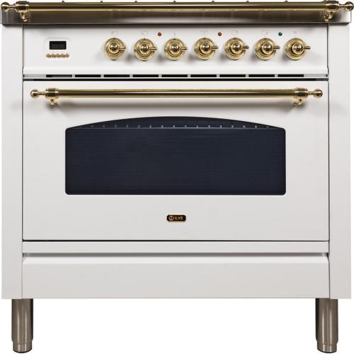 Nostalgie 36 Inch Gas Natural Gas Freestanding Range in White with Brass Trim Trim