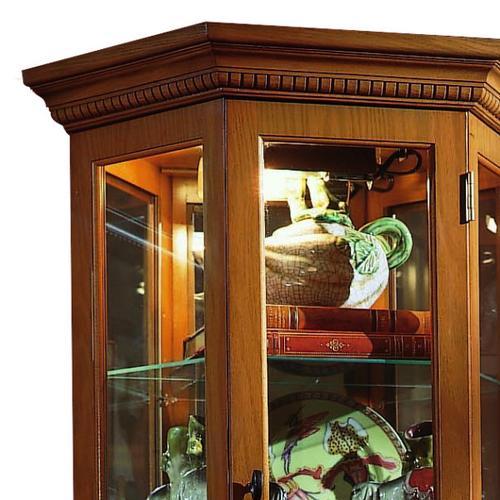 Pulaski Furniture - Angled 5 Shelf Mirrored Curio in Golden Oak Brown