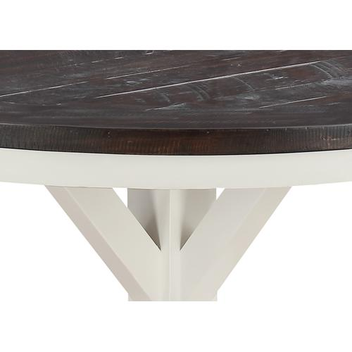 """Emerald Home Furnishings - Emerald Home Mountain Retreat 54"""" Round Dining Table-top Dk Brown-base Antique White D601-14"""