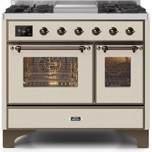 Majestic II 40 Inch Dual Fuel Natural Gas Freestanding Range in Antique White with Bronze Trim