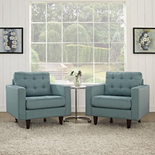 Empress Armchair Upholstered Fabric Set of 2 in Laguna