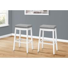 """BARSTOOL - 2PCS / 29""""H / GREY LEATHER-LOOK / WHITE"""
