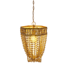 See Details - Gold & Natural Beaded Swag Chandelier. 40W Max Watt. Hardwire Only.