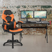 Black Gaming Desk and Orange\/Black Racing Chair Set with Cup Holder, Headphone Hook & 2 Wire Management Holes