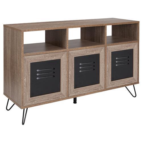 "Flash Furniture - Woodridge Collection 44""W 3 Shelf Storage Console\/Cabinet with Metal Doors in Rustic Wood Grain Finish"