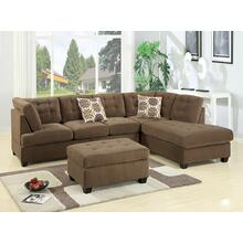 Lavanya 2pc Reversible Sectional Sofa Set, Truffle-waffle-suede