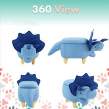 See Details - Critter Sitters 15-In. Seat Height Blue Triceratops Dino Shape Storage Ottoman Furniture for Nursery, Bedroom, Playroom, Living Room Decor, CSDNOSTOTT-BLU