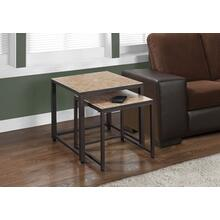 NESTING TABLE - 2PCS SET / TERRACOTTA TILE TOP / BROWN