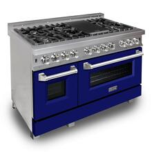 """View Product - ZLINE 48"""" DuraSnow® Stainless Steel 6.0 cu.ft. 7 Gas Burner/Electric Oven Range with Color Door Options (RAS-SN-48) [Color: Blue Matte]"""