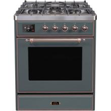 Majestic II 30 Inch Dual Fuel Liquid Propane Freestanding Range in Blue Grey with Bronze Trim