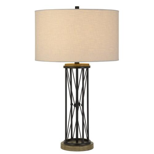 Sabinanigo Metal Table Lamp With Hardback Round Shade