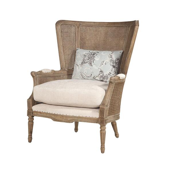 See Details - Abigail Chair in Tandem Eggshell - Throw Pillow Fabric Campanille Mist