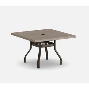 "42"" Square Dining Table (with Hole) Ht: 27.25"" 37XX Universal Aluminum Base (Model # Includes Both Top & Base)"