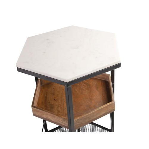 Rosko Hexagonal White Marble Top Cart