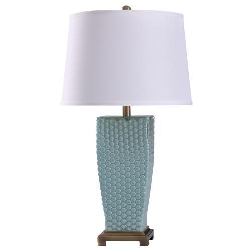 Sea Spray  29in Elegant Dimpled Glass Body & Metal Base Table Lamp  150 Watts  3-Way
