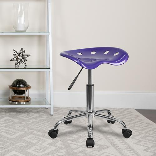 Flash Furniture - Vibrant Violet Tractor Seat and Chrome Stool