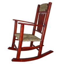 Red Rocking Chair W/Wicker Seat