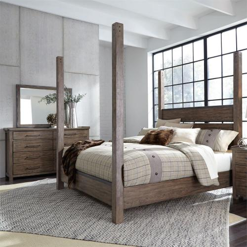 King California Poster Bed, Dresser & Mirror
