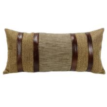 Highland Lodge Herringbone Lumbar Pillow W/ Faux Leather