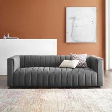 Reflection Channel Tufted Upholstered Fabric Sofa in Charcoal