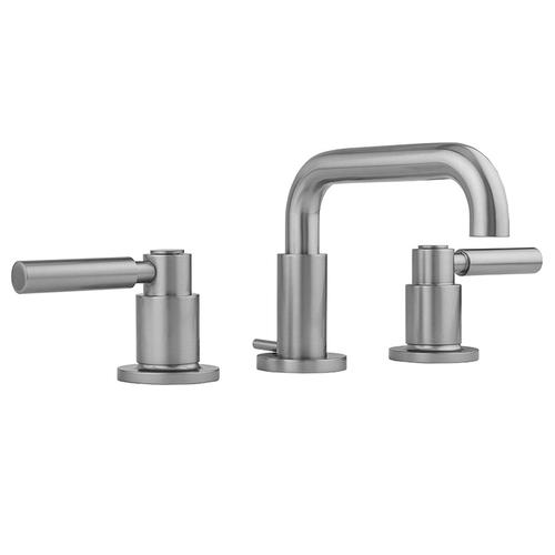 Jaclo - Antique Brass - Downtown Contempo Faucet with Round Escutcheons & High Lever Handles & Fully Polished & Plated Pop-Up Drain