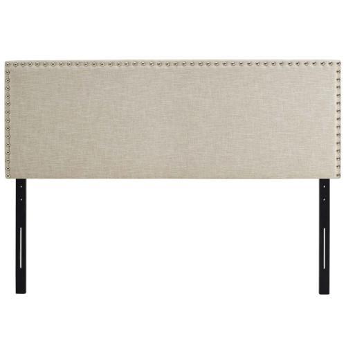 Phoebe Queen Upholstered Fabric Headboard in Beige