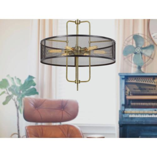 60W X 6 Leiden Metal Chandelier With Mesh Shade (Edison Bulbs Are Not included)