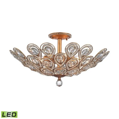 Evolve 8-Light Semi Flush in Matte Gold with Clear Crystal - Includes LED Bulbs