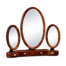 See Details - Art Deco style triple dressing mirror with brass